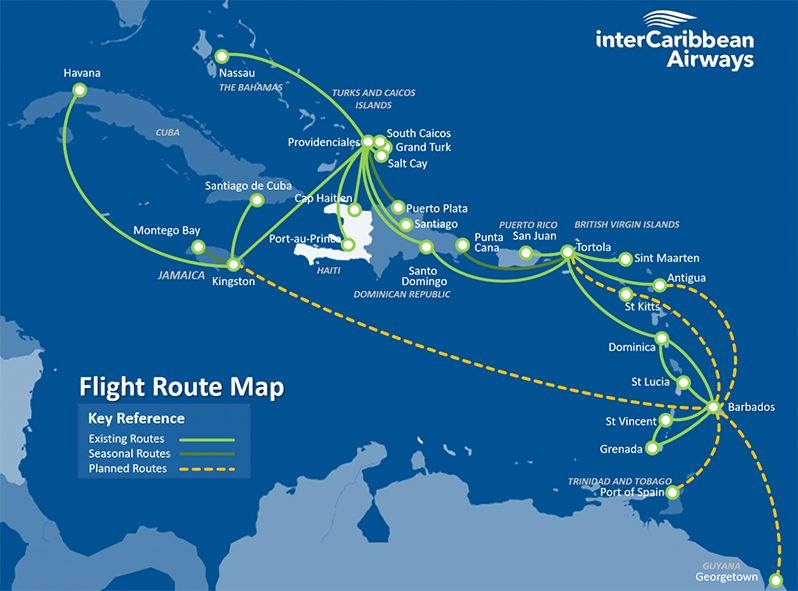 InterCaribbean Airways flight route map as displayed on their website