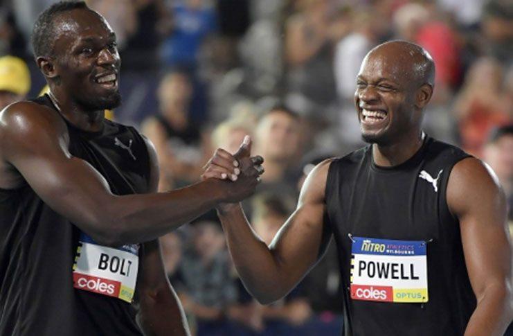 Jamaicans Usain Bolt and Asafa Powell