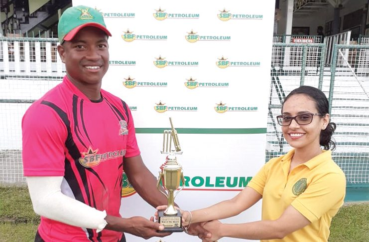 Georgetown Skipper and centurion, Leon Johnson, showed off his class during his run-fest at the GCC Ground, Bourda, yesterday (Clifton Ross Photo)