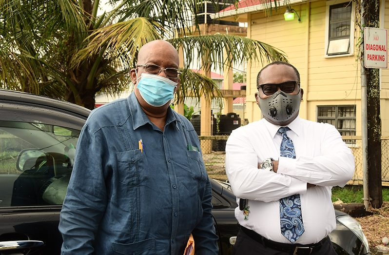 Former Finance Minister, Winston Jordan, with his attorney Roysdale Forde, S.C. (Adrian Narine photo)