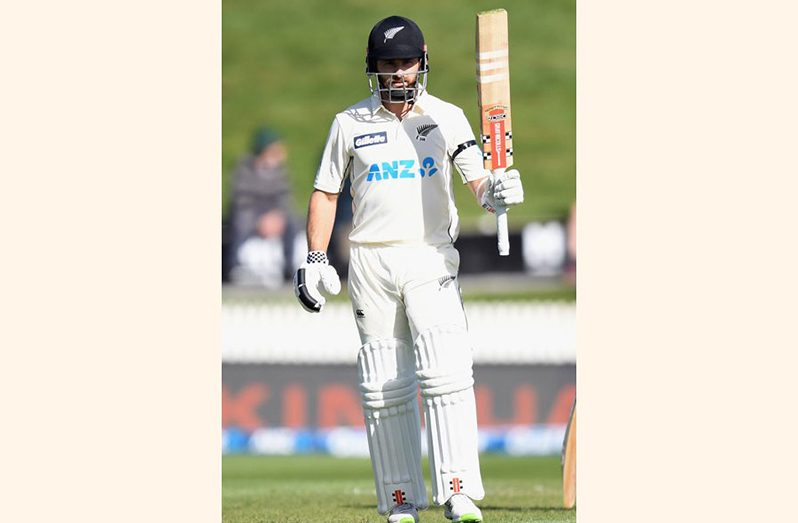 New Zealand's captain Kane Williamson celebrating his 22nd Test  century against West Indies at Seddon Park in Hamilton today.
