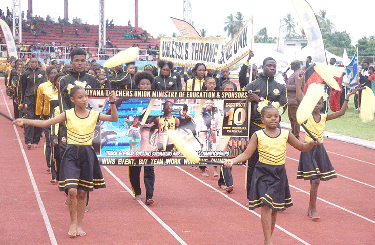 Reigning Champions Upper Demerara/Kwakwani (District 10) stole the show during the opening ceremony of this year's National School's Championship.