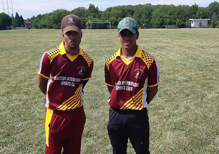 Marcus Nandu (right) and Arjuna Sukhu following their 90-run second wicket partnership.