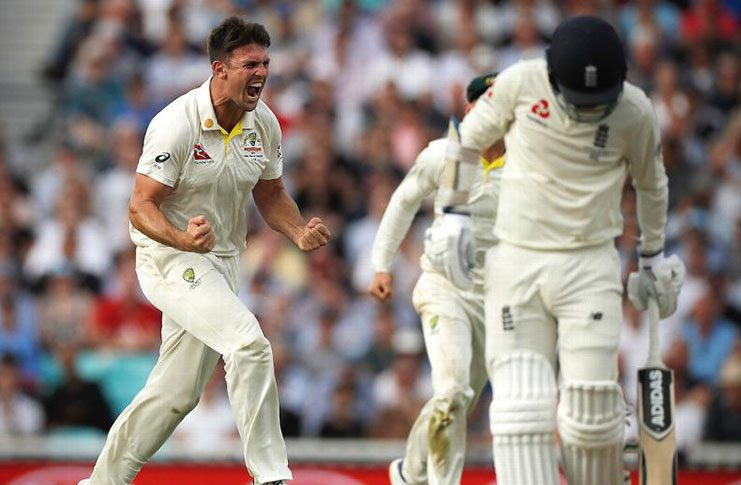 Mitchell Marsh celebrates the wicket of Sam Curran Getty Images