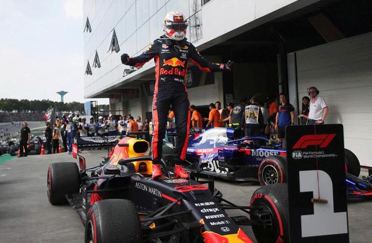 Sao Paulo, Brazil -  Red Bull's Max Verstappen celebrates after winning the race REUTERS/Ricardo Moraes