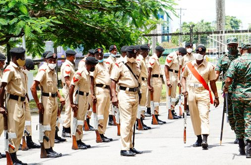 Members of the Joint Services practise for the Guard of Honour parade