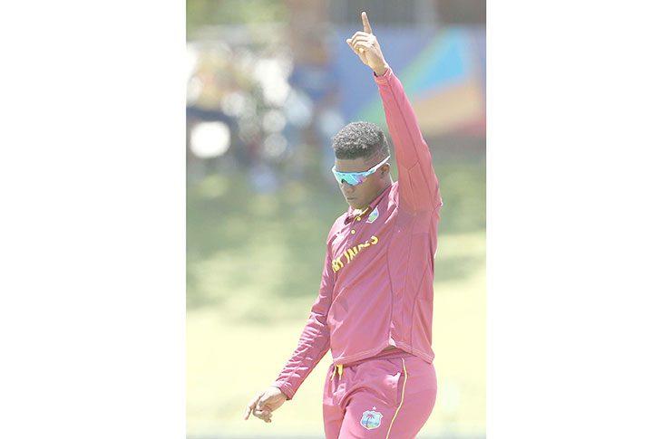 Ashmead Nedd celebrates a wicket, v South Africa, Under-19 World Cup, Potchefstroom, February 1, 2020.
