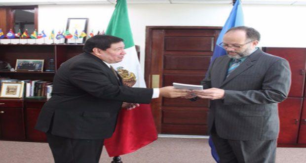 Mr. Ivan Roberto Sierra-Medel presenting his letter of credence to CARICOM Secretary-General, Ambassador Irwin LaRocque