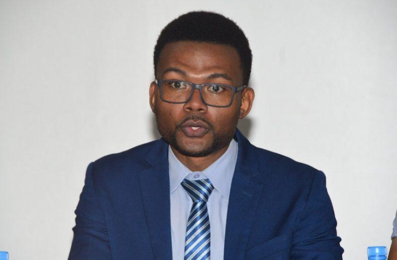 President of the YOA, Dennon Lewis (Adrian Narine photo)