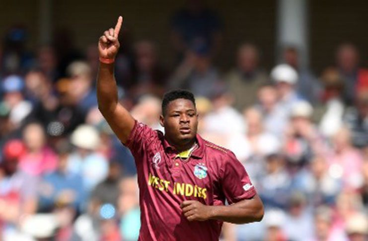 Fast bowler Oshane Thomas grabbed his maiden five-wicket haul in T20 Internationals.