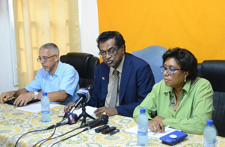 AFC Executives (L-R) Dominic Gaskin, Khemraj Ramjattan and Cathy Hughes (Samuel Maughn photo)
