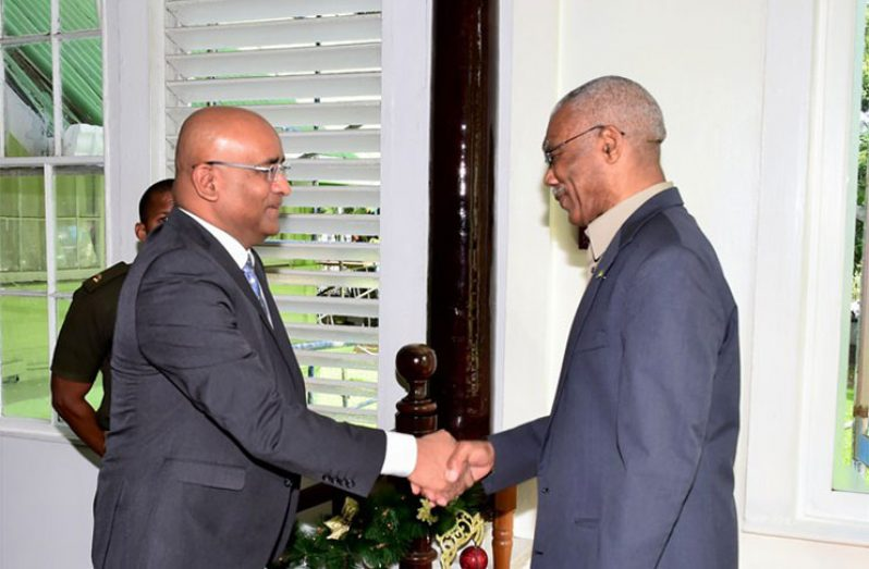 President David Granger and Opposition Leader Bharrat Jagdeo during a previous engagement