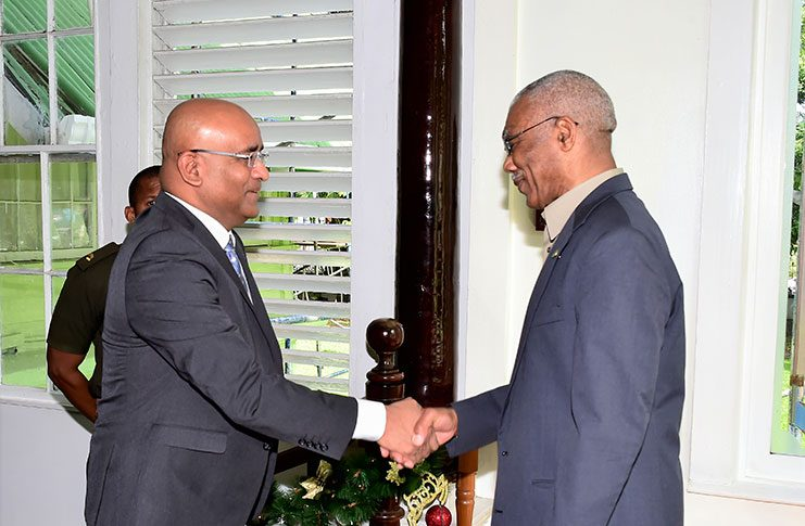 President David Granger and Opposition Leader Bharrat Jagdeo at a previous meeting
