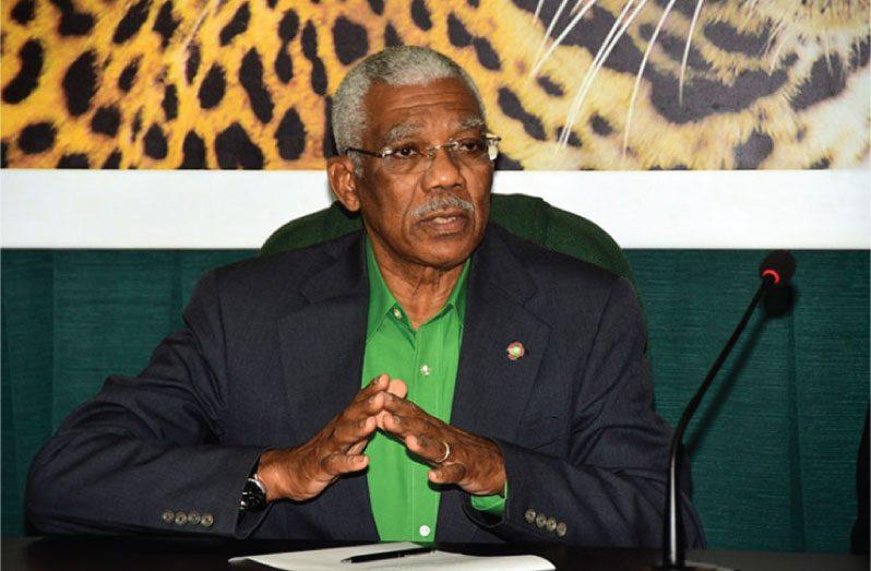 President David Granger delivering the keynote address during Friday's Emancipation-eve event