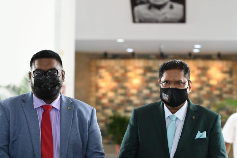 From Left: President of Guyana, Dr. Irfaan Ali and President of Suriname, Chandrikapersad Santokhi