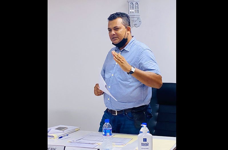 Regional Executive Officer Devanand Ramdatt speaking at the recent RDC meeting