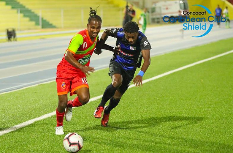 Fruta Conquerors' Gregory 'Jackie Chan' Richardson was a thorn in the Jong Holland defenders' side during his side's 0 – 0 draw in the CONCACAF Caribbean Club Shield in Curacao.