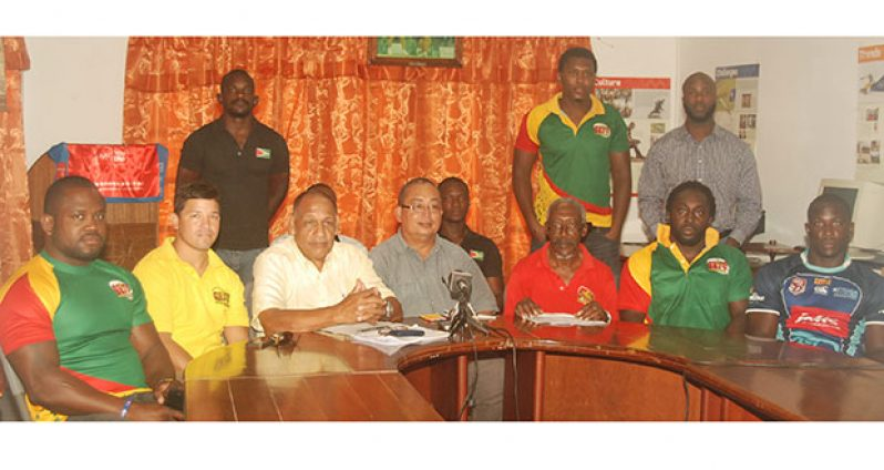 Executives of the GRFU and some of the selected players at yesterday's press conference
