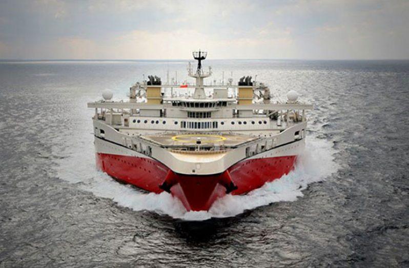 The Norwegian seismic ship, the Ramford Tethys (PGS photo)