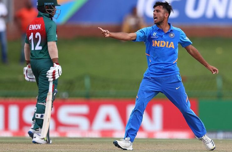 Ravi Bishnoi celebrates a wicket with gusto. (ICC via Getty)