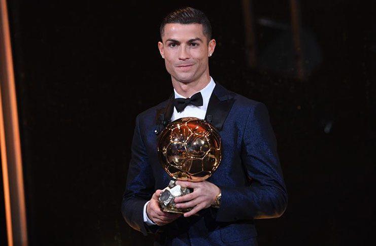 Cristiano Ronaldo collects his fifth Ballon d'Or yesterday.
