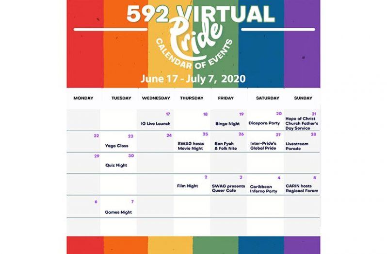 A schedule of the events outlined for Virtual Pride 2020