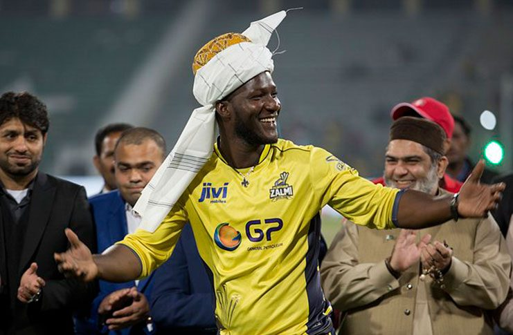 FLASHBACK: Darren Sammy celebrates leading Peshawar Zalmi to victory in the final of the PSL last March.