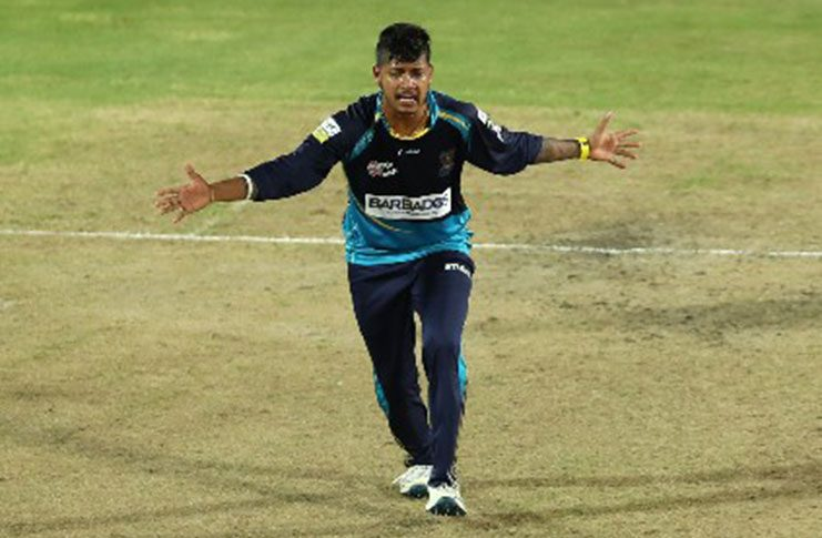 Leg-spinner Sandeep Lamichhane celebrates one of his three wickets in the CPL on Wednesday night. He was later named Man-of-the-Match.