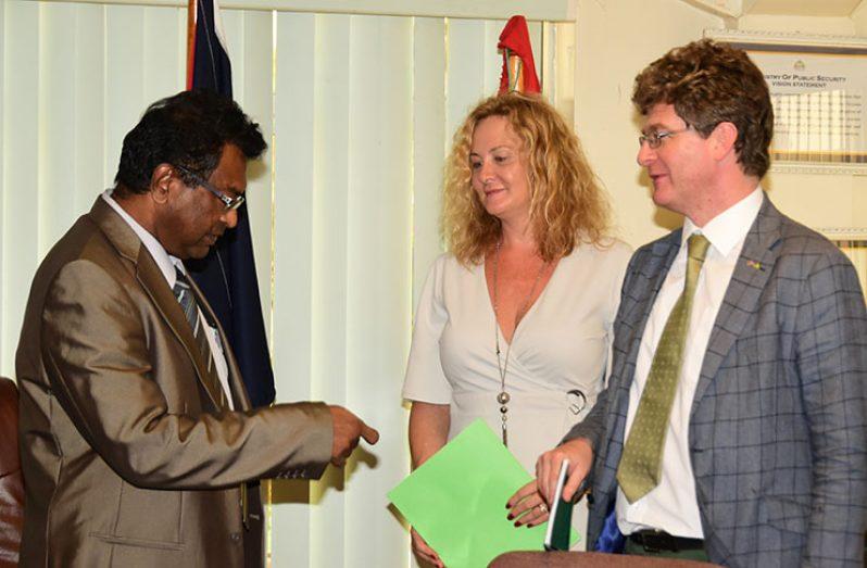 Public Security Minister, Khemraj Ramjattan shares a word with Caribbean Regional Coordinator of SEAPORT, Karen Clarke and British High Commissioner to Guyana, Greg Quinn
