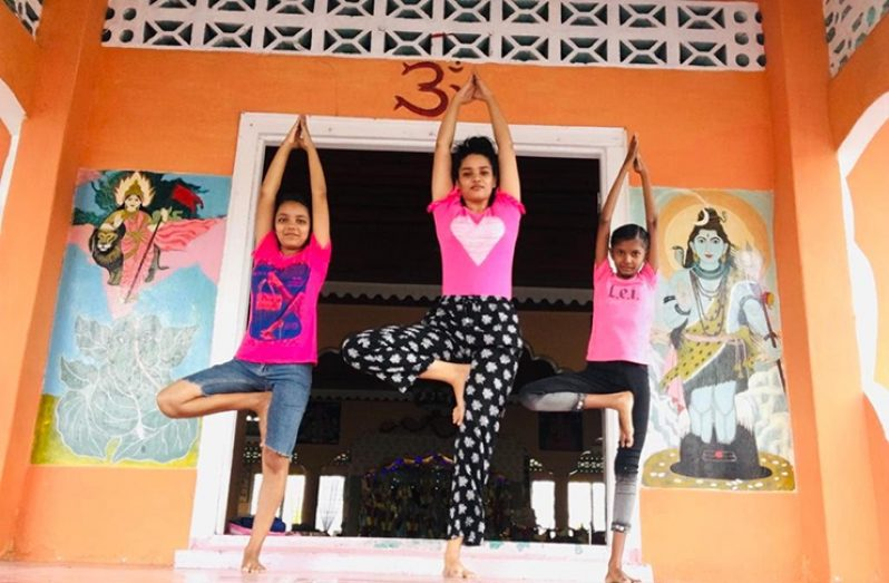 Seeta Dalloo and two of her yoga students practising the Vrksasana (Tree Pose).
