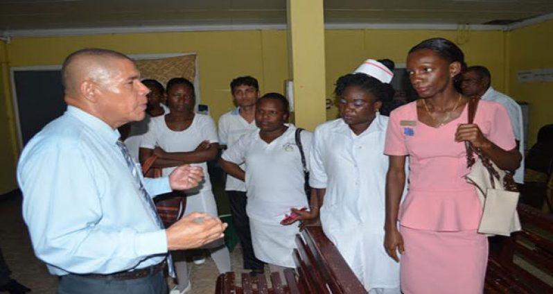 Public Health Minister, Dr. George Norton addressing Skeldon Hospital staff during a visit last week
