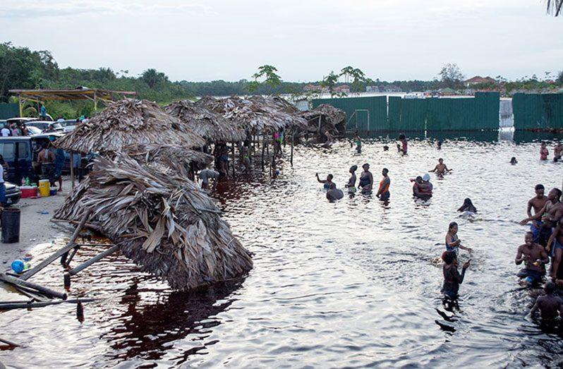 Patrons enjoying themselves at the Splashmins resort
