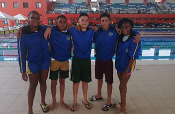 Medal winners from left: Monique Watson, Stephen Ramkhelawan, Elliott Gonsalves, Vladimir Woodroffe and Athalcy Hunte