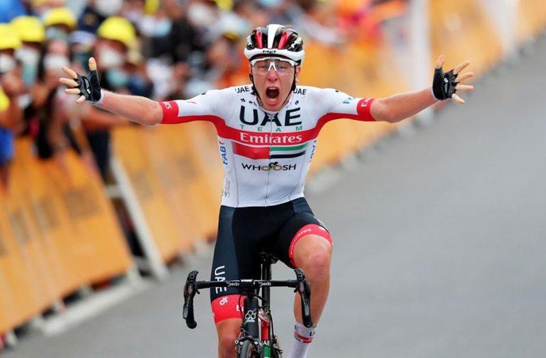 UAE Team Emirates rider Tadej Pogacar of Slovenia wins Stage 9, September 6, 2020. (Pool via REUTERS/Thibault Camus)