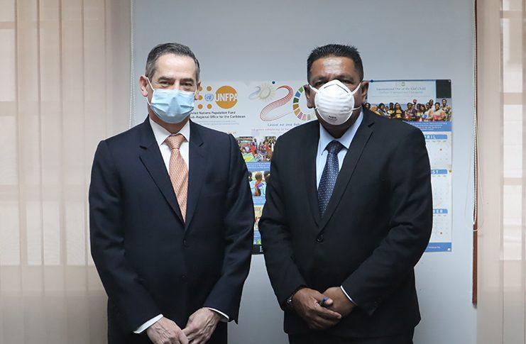 Agriculture Minister, Zulfikar Mustapha, with Chilean Ambassador to Guyana, Patricio Becker