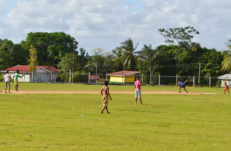 Children in the midst of a game of cricket at the Mabaruma Settlement Ground . The ground's upkeep and maintenance falls under the ambit of the town council and several areas of improvement are expected to be undertaken there, including the construction of additional bleachers for spectators.