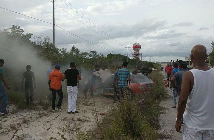 Pierre Singh's burning Toyota Starlet