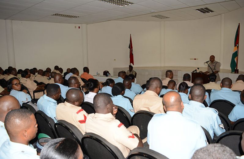 Police Commissioner, Seelall Persaud, addressing ranks at the opening ceremony of the Junior Officers' Course.