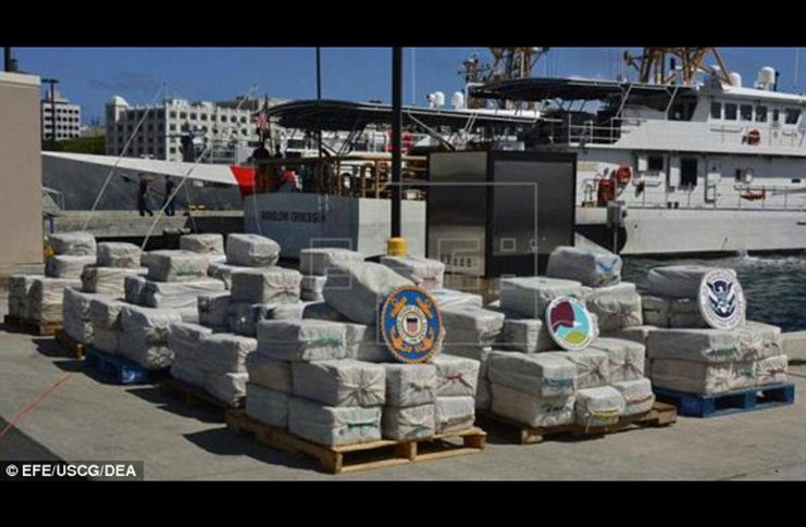 The boat carrying the cocaine was stopped and searched by authorities February 16, during a joint patrol by the crews of the U.S. Coast Guard cutter Joseph Napier and the Coast Guard of Trinidad and Tobago