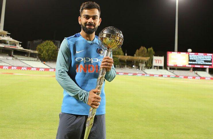 Virat Kohli poses with the Test mace.(BCCI)