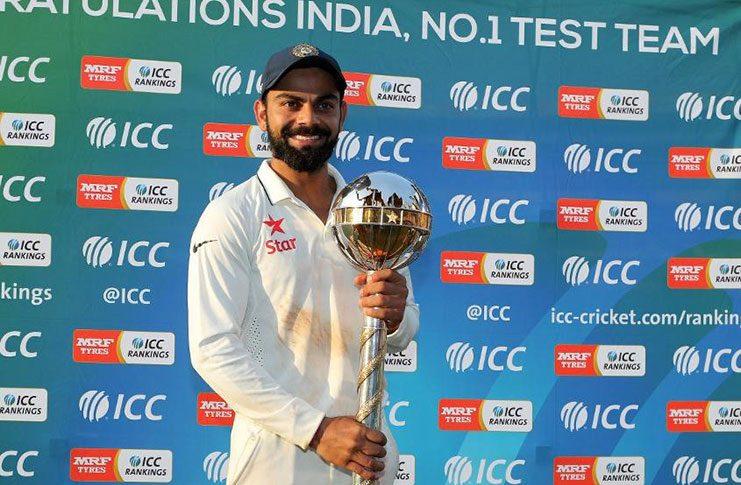 Virat Kohli with the Border-Gavaskar Trophy Mark Kolbe/Getty Images