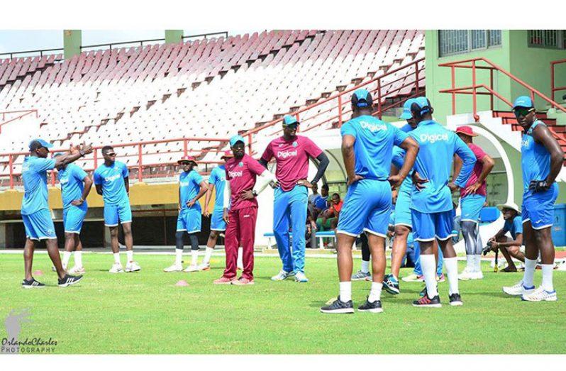 West Indies team training at the Guyana National Stadium yesterday