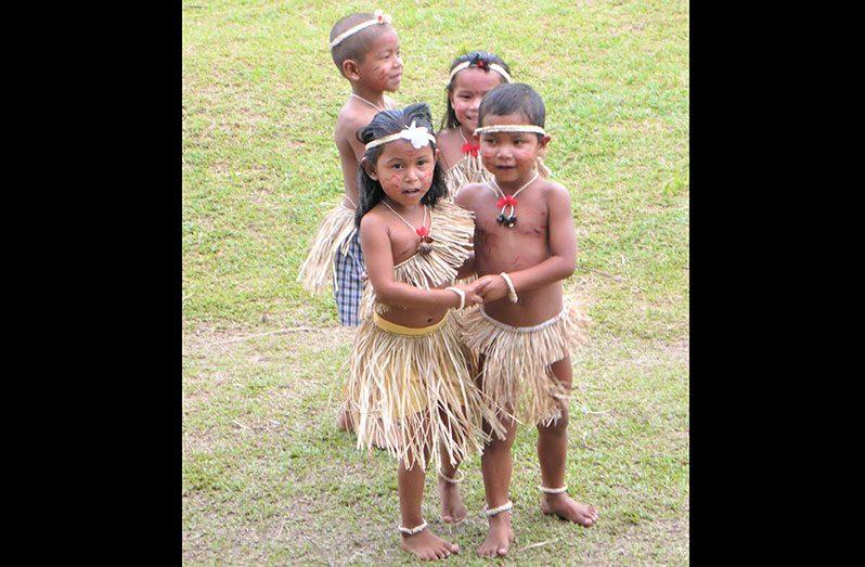 Children of Warapoka Village doing a traditional dance