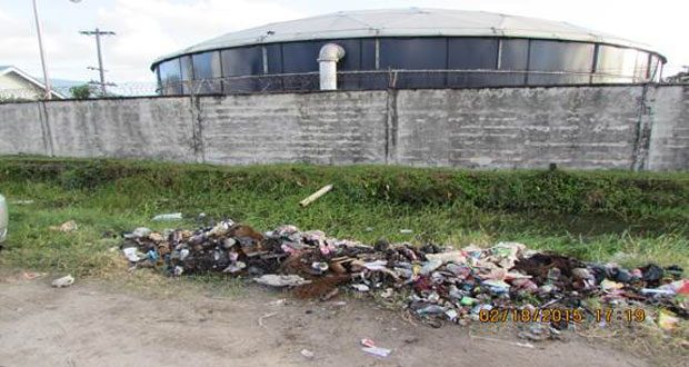 An illegal dumpsite on Mandela Avenue just outside the Guyana Water Inc.