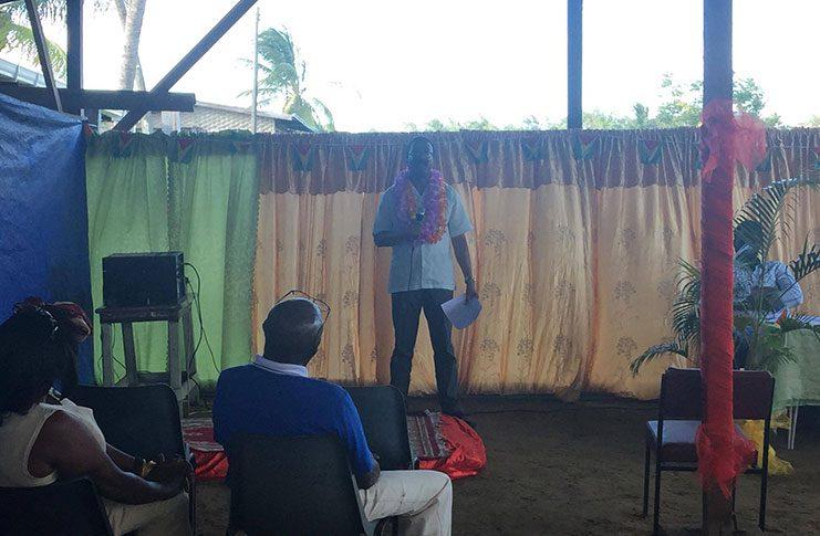 Attorney General Basil Williams addressing residents at Limlair Village, Corentyne,  on Sunday