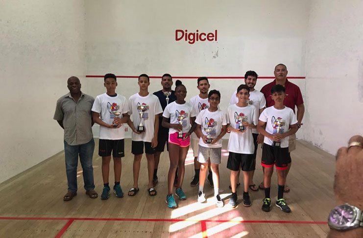 The 2019 winners of the Guyana Squash Association Bounty Farm Limited Handicap squash tournament