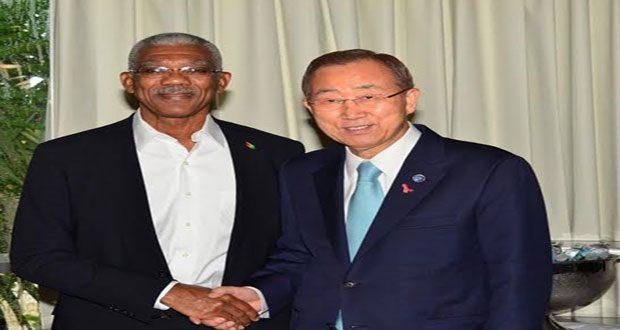 President David Granger with United Nations Secretary General Ban Ki Moon