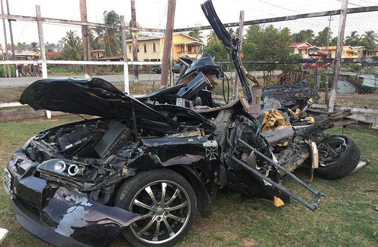 The remains of the car that was driven by Dhanpaul Kishandayl