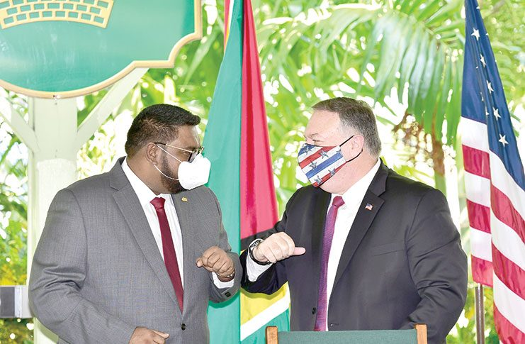 President Dr Irfaan Ali and U.S. Secretary of State Mike Pompeo at the joint press conference at State House on Friday (Adrian Narine photo)