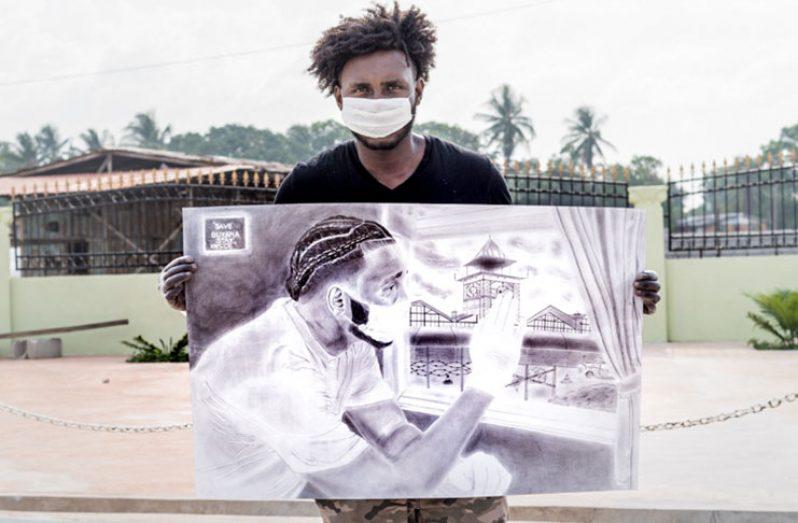Jamal Durant holding up his iconic artwork (Source: Jamal Durant)